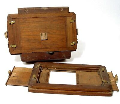 2 Stereo Plate Wooden Dark Slides   For 18 x 9 cm Glass Plates   Nice Condition