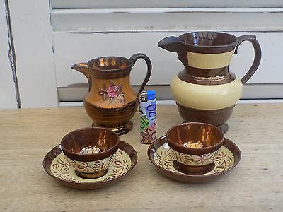 Superbe Lot De Jersey 2 Pots 2 Tasses Antique Deco Vintage