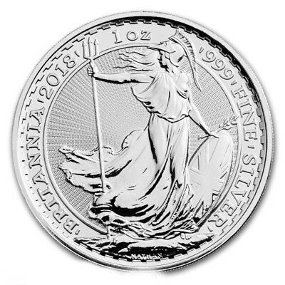 2018 1oz Silver Britannia 1 ounce silver bullion coin, uncirculated