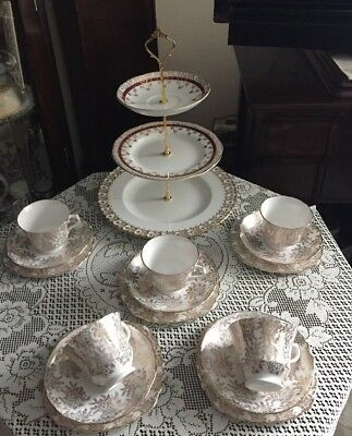 Beautiful Vintage Royal Vale Bone China Tea Set And Cake Stand