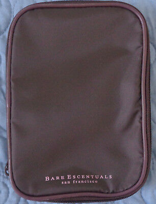 NIP Bare Escentuals Brown Expandable Makeup Bag Travel Bag