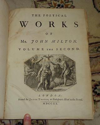 RARE 1720 Poetical Works John Milton PARADISE REGAINED Samson ANTIQUE Literature