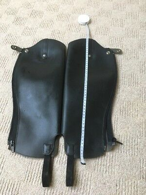 Quality Leather Half Chaps Gaiters. Black Leather.
