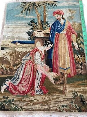 Antique Religious  Completed Tapestry .Petit Point Bits. Jesus And Mary .