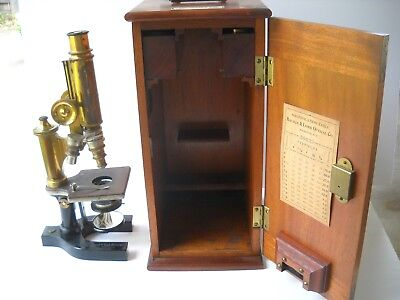 Vintage Bausch & Lomb Brass Microscope With 4 optics custom wood box no 50633