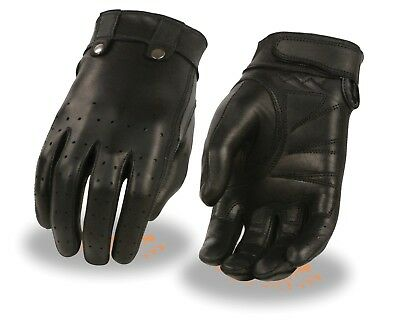 Ladies Leather Driving Glove W/ Perforated Fingers,Gel Palm, Stud Details MG7710