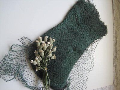 Vintage French Silk Green / Black Ombre Bird Cage Millinery Veiling    6 Yds