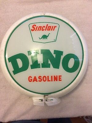 VINTAGE ORIGINAL 1960's SINCLAIR DINO GASOLINE GAS PUMP GLOBE W/ NOTCHED LENSES