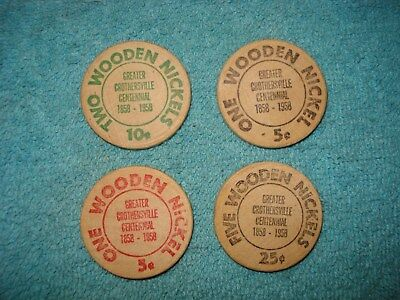 Wooden nickels Greater Crothersville Centennial Indiana 1958