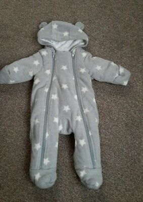 M&S Baby Boy Girl Snowsuit Grey Stars Unisex (Up to 1 month)