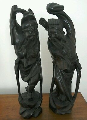 """Two Antique Chinese Wooden Carved Figures 12½"""" High"""