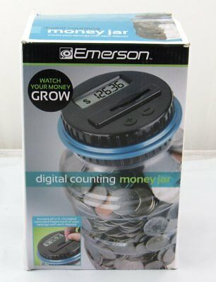 Emerson Digital Coin Counting Money Jar Bank (Various Colors: Black White Gray)