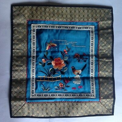 Vintage Chinese 100% Silk Embroidered Blue Panel Textile Bird/Flowers/Butterfly