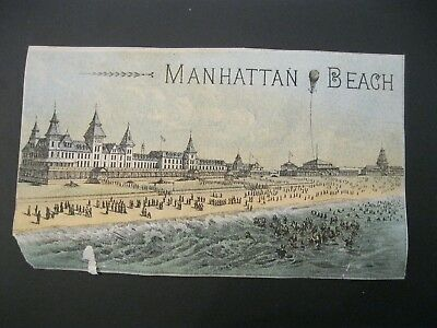 RARE Victorian Trade Card VTG Manhattan & NY Beach Railway MAP RR Train Ocean 55