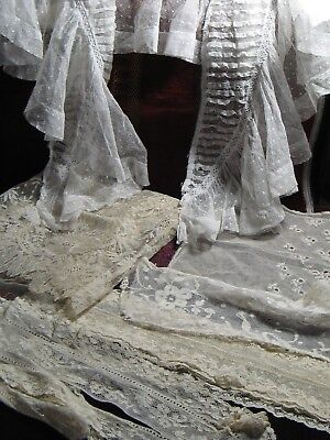 Antique hand worked lace 6 items including large frilly collar