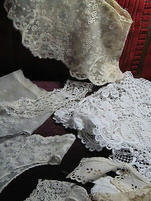 Seven Antique hand worked lace collars