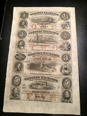 1857 Nebraska Omaha City Western Uncut Sheet $1 $2 $3 $5 Notes Buffalo & Indians