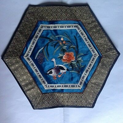 Vintage Chinese 100% Silk Embroidered Hexagon Blue Panel Textile Birds/Flowers