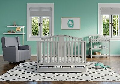 Graco Solano 4 in 1 Convertible Crib with Drawer Pebble Gray Baby Room Bed Frame