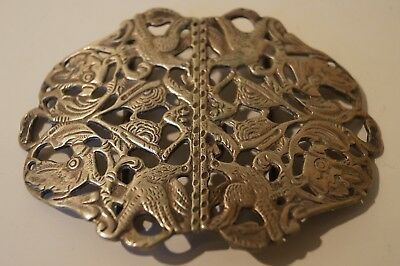 Lovely Victorian Silver Plated Nurses Buckle With Swallows Decoration, Boer War