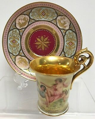 Vintage Royal Vienna Germany Cup/Saucer with Hand-Painted Cherub & Women Reliefs