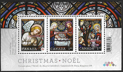 Canada Stamps - Souvenir sheet of 3 - Christmas: Stained Glass #2490 - MNH