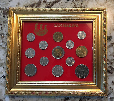 SAN MARINO (Italy) Framed Set of Lira Coins 1975-1980 w/ commemortive coins