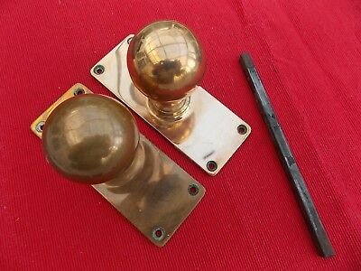 Pair Quality Georgian Antique Brass Round Door Handles Knobs & Large Backplates