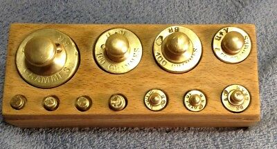 Vintage Antique Brass Scale Weights Grammes/Grams Set of 11 in Antique Wood Box