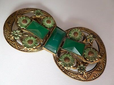 Pretty Art Nouveau, Vintage Czech, Chrysoprase and Enamel, Gilded Brass Buckle.
