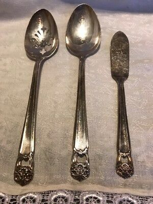 "1847 Rogers Bros IS Silver Plate""Eternally Yours"" Serving Spoons & Butter Knife"