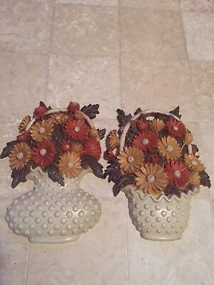 """VINTAGE 1977 HOMCO FLOWER BASKET SYROCO WALL PLAQUES BURWOOD 10"""" AUTUMN Colors"""