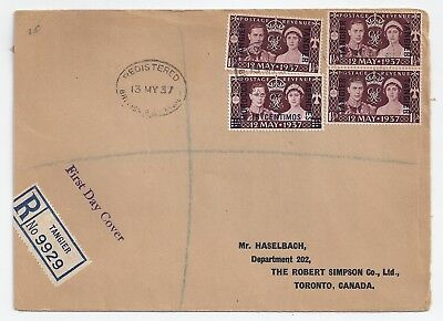 Coronation cover 1937 - Tangier & Morocco Agencies overprints - registered
