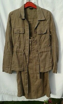 J L brown unlined heavy linen safari suit, Early 1970's Fashion Look -10