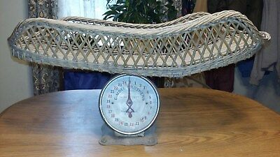 Vintage GIMBEL BROTHERS Baby scale with wickerbasket top