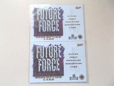 2 x SELECT 2001 RUGBY LEAGUE FUTURE FORCE REDEMPTION CARDS