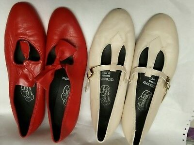 2 Pair Of Womens Square Dance Shoes Red And Cream