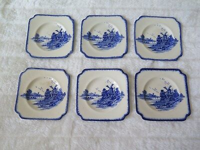 """Royal Doulton Small Square Side Plates X 6 """"Norfolk"""" Flow Blue 1929"""