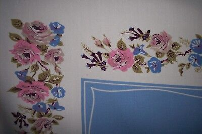 Vintage Tablecloth French Country Blue Spring Floral Roses Shabby Cottage Chic