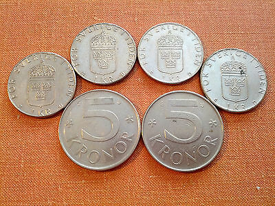 6 Swedish Coins: 4x1 Kronor & 2x5 Kronor Different Years