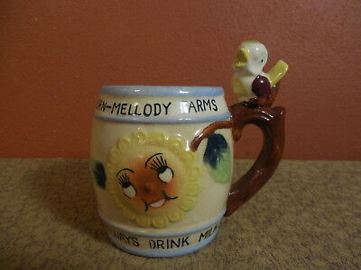 Vintage Advertising DRINK MILK Child's Whistle Mug w Anthropomorphic Flower