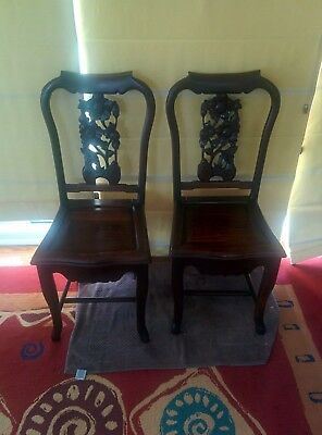 Pair of Antique Carved Solid Rose Wood Chairs