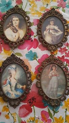 Four Vintage Girls Oval Frame Metal of Girls made in Italy