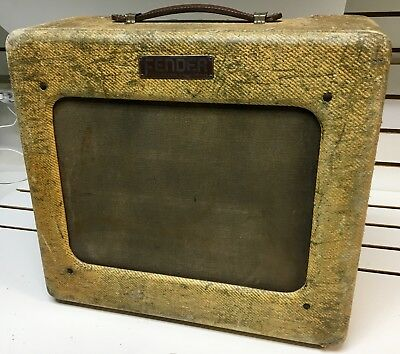 1950 Fender Vintage Deluxe Tweed Guitar Tube Combo Amp TV Front Made IN USA