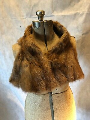 Nice Vintage 1950s Rockabilly Pin Up Collar Real Mink Fur Scarf Stole Neck Wrap
