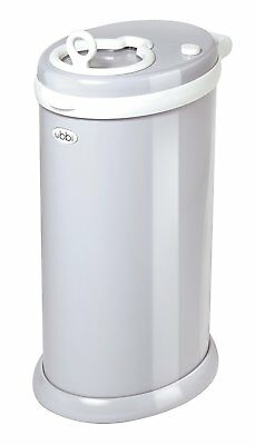 Ubbi Steel Odor Locking Diaper Pail w/ Child Safety Lock & Slow-Closed Lid Gray