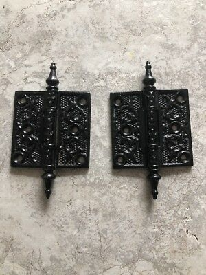 Antique ornate cast iron Victorian Door Hinges 3x3 Nice Set