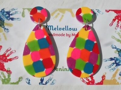 Colourful dangly earrings Melvellous polymer clay