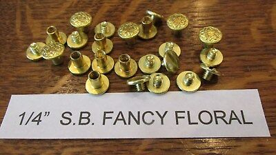 "CHICAGO SCREW 1/4"" SOLID BRASS FLORAL 1 DOZ. Leather Belt Fastener Saddlery S.B."