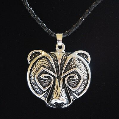 Norse Bear Necklace ~ Viking Style Pendant ~ Silver Colour Talisman Amulet